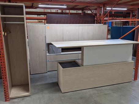 Groupe Lacasse Height Adjustable Desking Unit and Storage