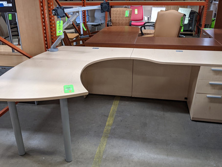 Groupe Lacasse L-Shaped Bow Front Desk