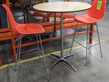 Showroom Sample Sale: Herman Miller Eames Molded Plastic Stool and Mighty Lite Bar Height Table
