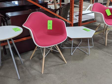 Showroom Sample Sale: Herman Miller Eames Upholstered Shell Armchair and Swoop Work Table