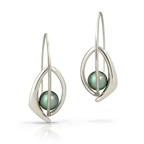 Natalie earrings w/8mm Tahitian pearls