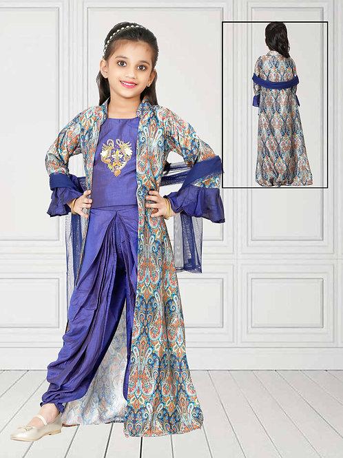 Ethnic, Kids Wear for Girls, Stylish poly metallic suit set, India Wedding Style, Kids Lehnga Designs
