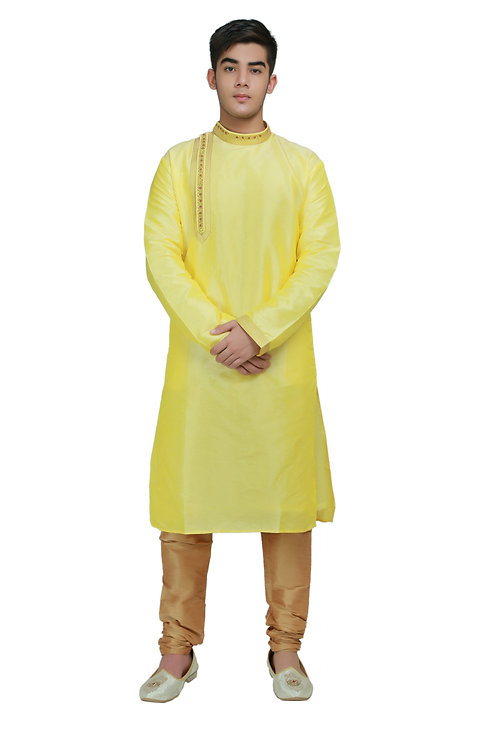 Ethnic | Embroidered Cotton Kurta Pajama in Yellow | Indian | Kurta Paijama