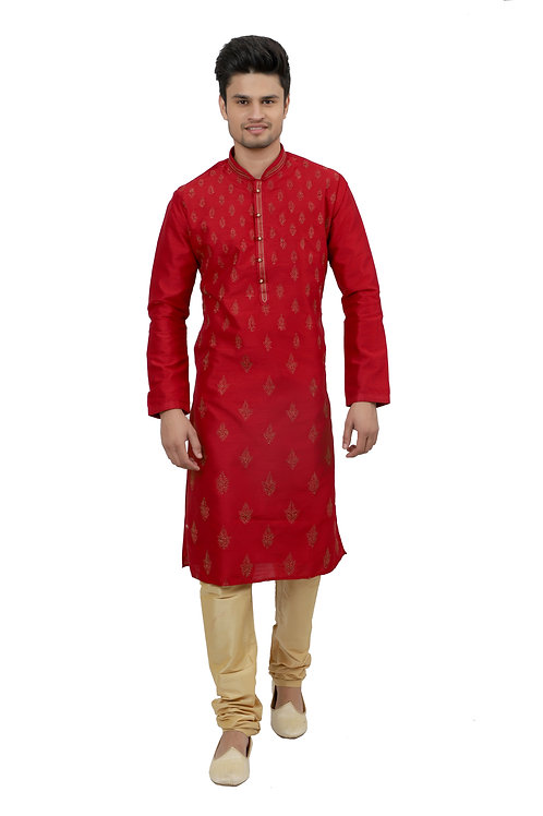 Ethnic | Kurta Paijama | Indian | Beige and Red | Full Sleeve