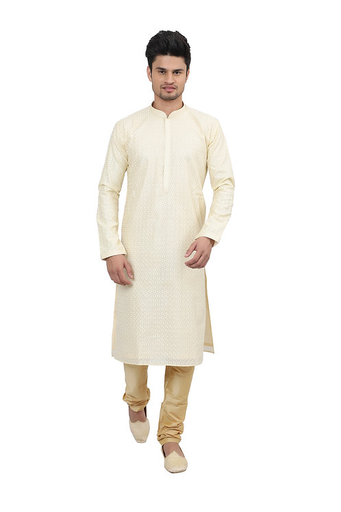 Ethnic | Kurta Paijama | Indian | Beige and White| Full Sleeve