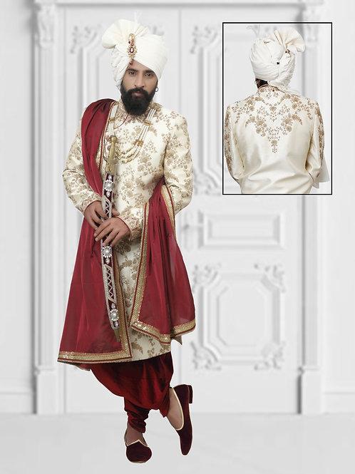 Ethnic | Cream and Mehroon Sherwani set | Indian | Sherwani
