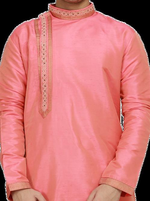 Ethnic | Woven Art Silk Kurta Set in Peach | Indian | Kurta Paijama