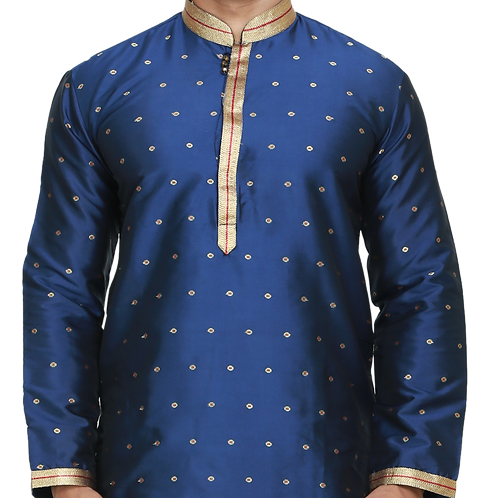 Ethnic | Woven Art Silk Kurta Set in Royal Blue | Indian | Kurta Paijama