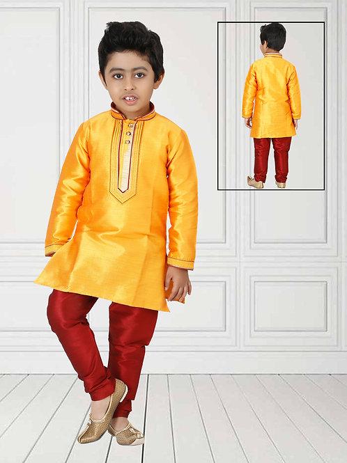 Ethnic, Kids Wear, Yellow & Mehroon kurta paijama set, Kids Kurta Paijama, Kids Indian Outfit