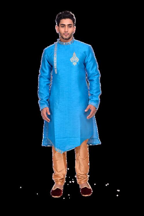 Ethnic | Embroidered Art Silk Kurta Set in Firozi Blue | Indian | Kurta Paijama
