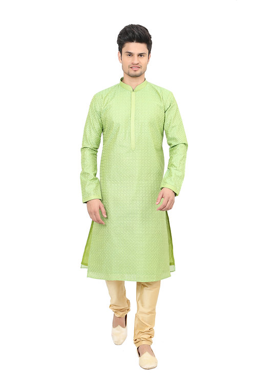 Ethnic | Kurta Paijama | Indian | Light Green Color | Full Sleeve