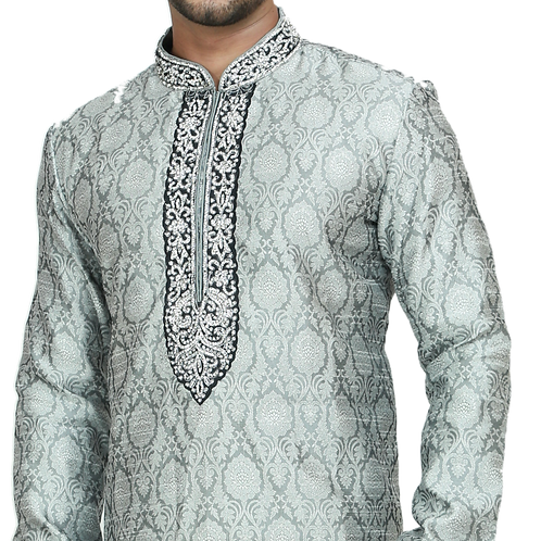 Ethnic | Embroidered Art Silk Kurta Churidar in Teal Blue | Indian | Kurta Paijama