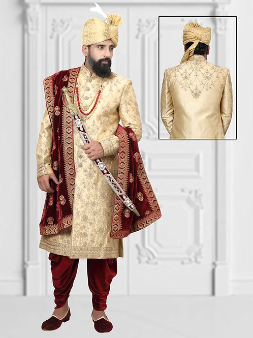 Ethnic | Beige Mehroon Sherwani | Indian | Sherwani