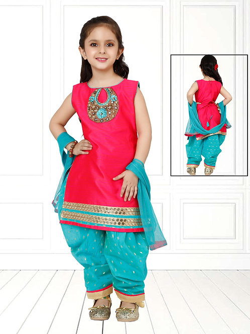 Ethnic, Kids Wear for Girls, Pink & blue suit, Kids Designer Clothing, Indian Fashion for Kids