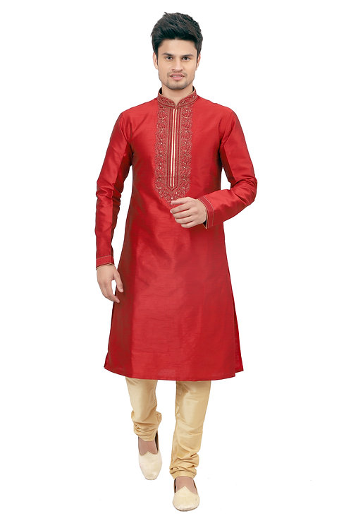 Ethnic | Kurta Paijama | Indian | Beige and Red| Full Sleeve