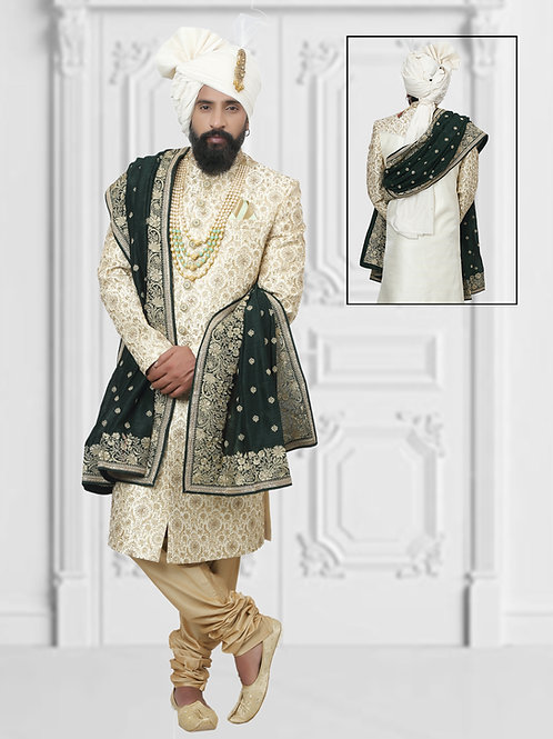Ethnic | Cream Embroidery Sherwani set | Indian | Sherwani