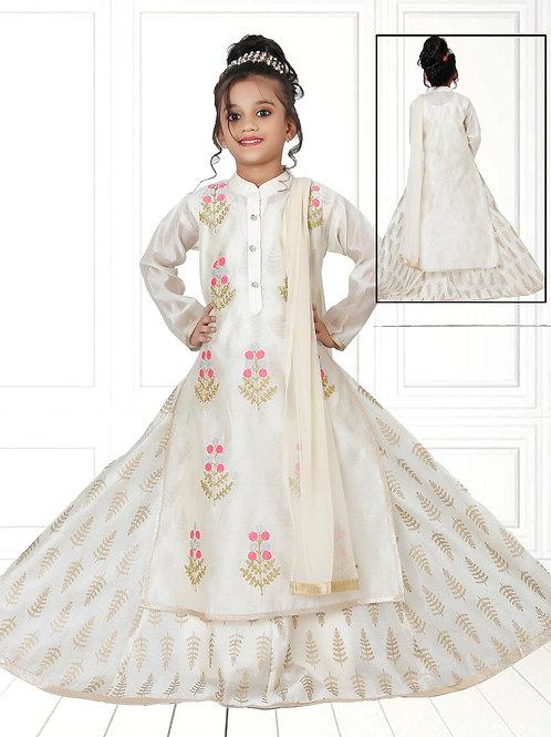 Ethnic, Kids Wear for Girls, Off White Long Dress, Indian Fashion for Kids, Girls Lengha Salwar