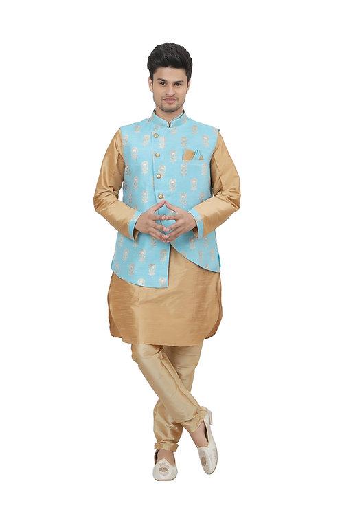 Ethnic | Kurta Paijama | Indian | Beige and Golden | Man