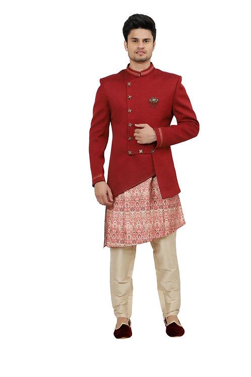 Ethnic | Kurta Paijama | Indian | Red Jacquard Print Vest | Full Sleeve