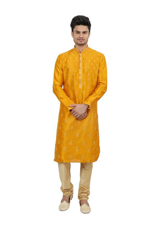 Ethnic | Kurta Paijama | Indian | Beige and Yellow | Full Sleeve