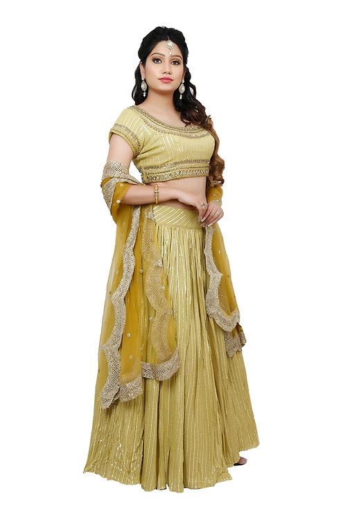 Ethnic | Chiffon Silk Lehnga Set | Indian | Lehnga