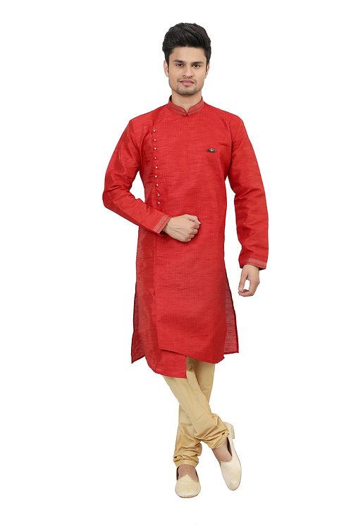 Ethnic   Kurta Paijama   Indian   Red Color   Nick Line   Full Sleeve