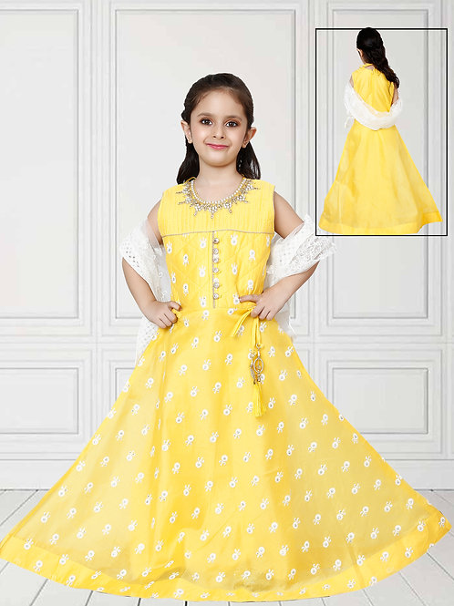 Ethnic, Kids Wear for Girls, Yellow long dress with dupatta, India Wedding Style, Indian Fashion for Kids