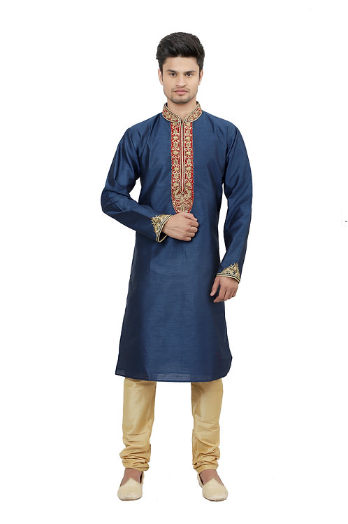 Ethnic | Kurta Paijama | Indian | Beige and Navy | Full Sleeve
