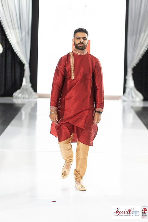 Ethnic | Mehroon kurta paijama in Angrakha style | Indian | Kurta Paijama