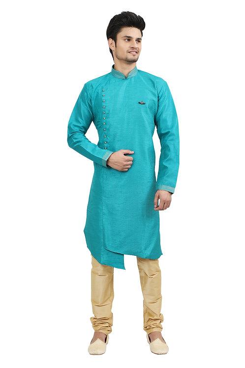 Ethnic   Kurta Paijama   Indian   Firozi Blue   Full Sleeve