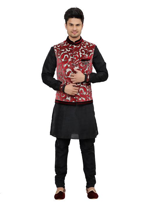 Ethnic   Kurta Paijama   Indian   Black and Red   Man