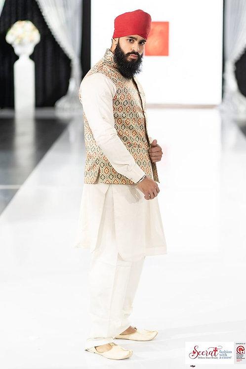 Ethnic | Printed vest and kurta paijama set | Indian | Kurta Paijama