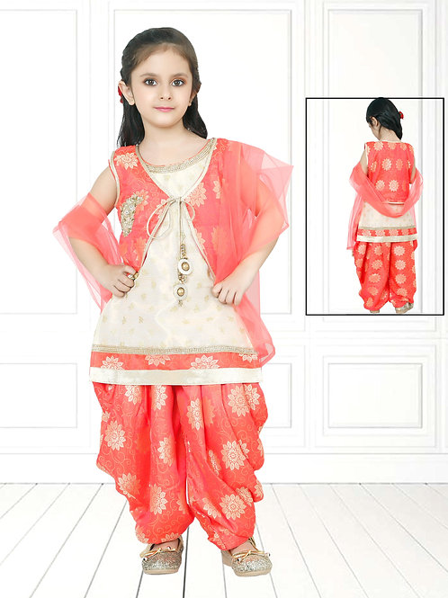 Ethnic, Patiala suit, Peach flared suit set, Kids Designer Clothing, Indian Fashion for Kids