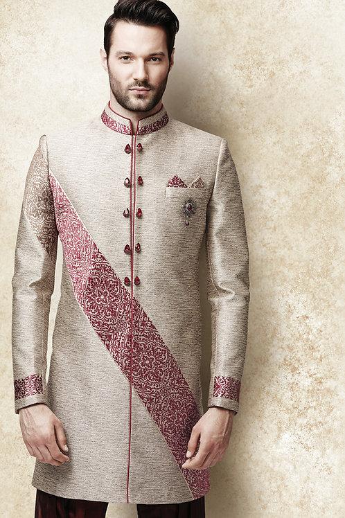 Ethnic   Hand Embroidery Jacquard Silk Sherwani   Indian   Man