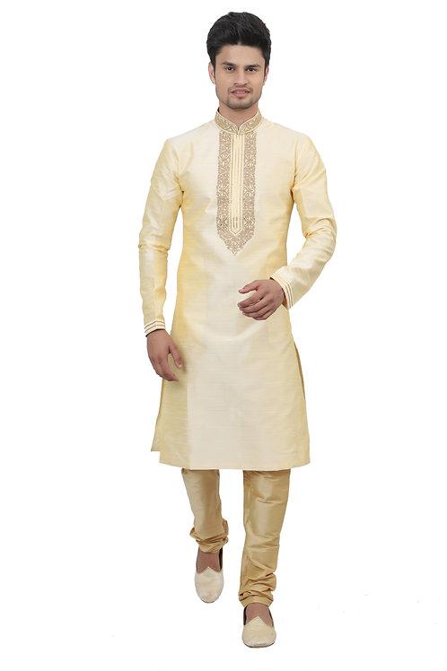 Ethnic | Kurta Paijama | Indian | Beige and Golden | Full Sleeve