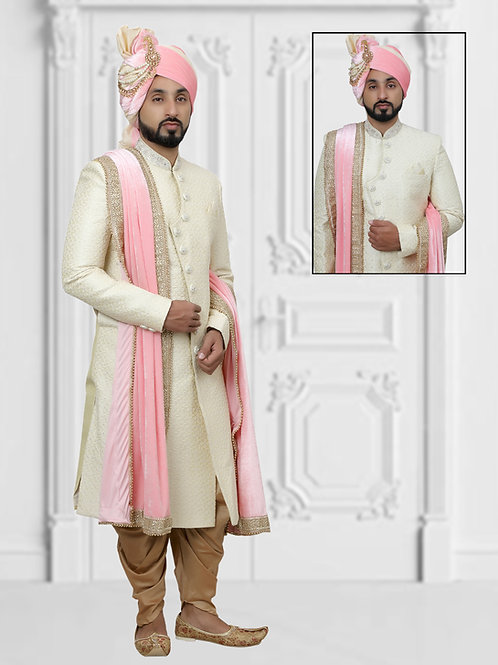 Ethnic | Cream and Mustard Embroidered Sherwani Set | Indian | Sherwani