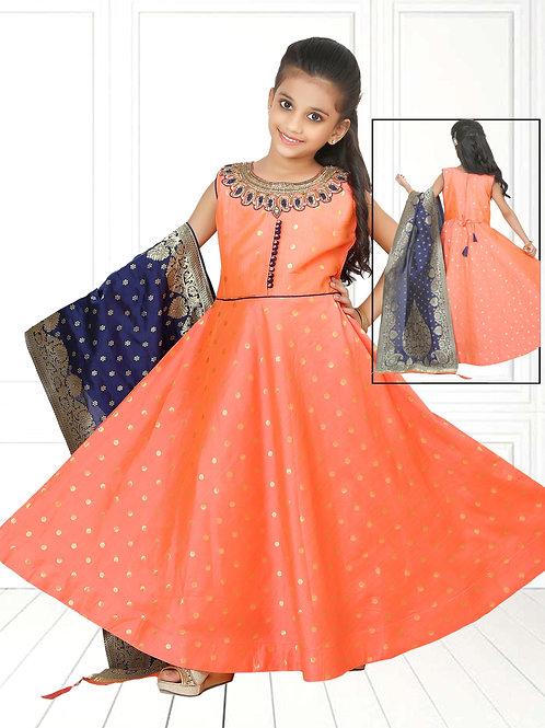 Ethnic, Kids Wear for Girls, Orange long dress, Kids Designer Clothing, Indian Fashion for Kids