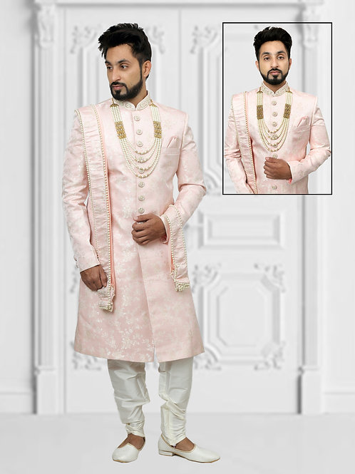 Ethnic | Light Pink with Silver Embroidery Sherwani | Indian | Sherwani
