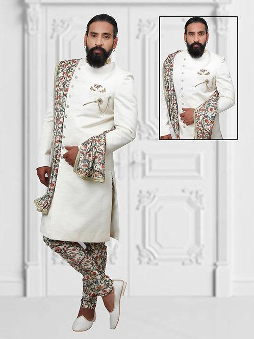 White sherwani with chudidar