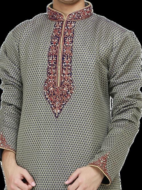Ethnic | Woven Art Silk Kurta Set in Green | Indian | Kurta Paijama