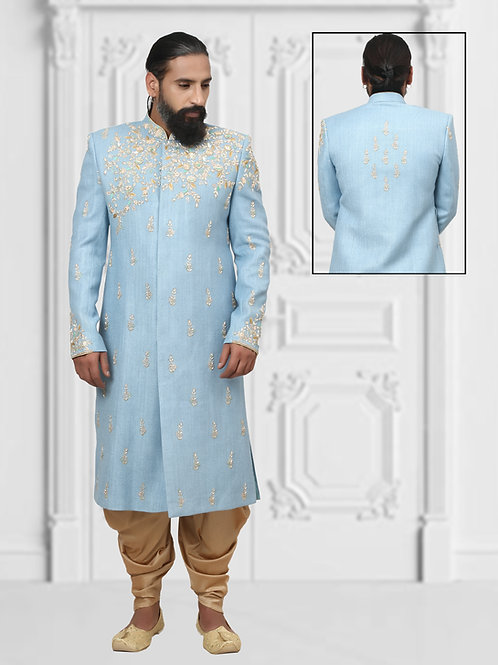 Ethnic | Light Blue Embroidered Sherwani | Indian | Sherwani
