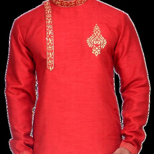 Ethnic | Embroidered Art Silk Kurta Set in Red | Indian | Kurta Paijama