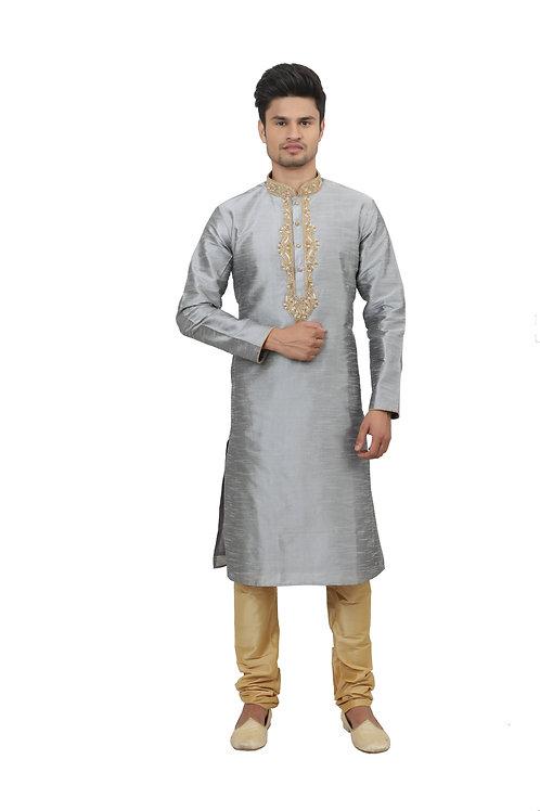Ethnic | Kurta Paijama | Indian | Light Grey Color | Full Sleeve