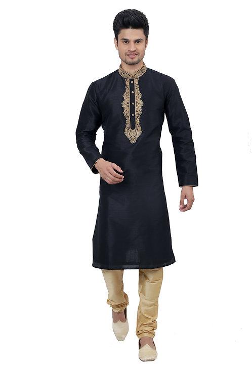 Ethnic | Kurta Paijama | Indian | Beige and Black| Full Sleeve