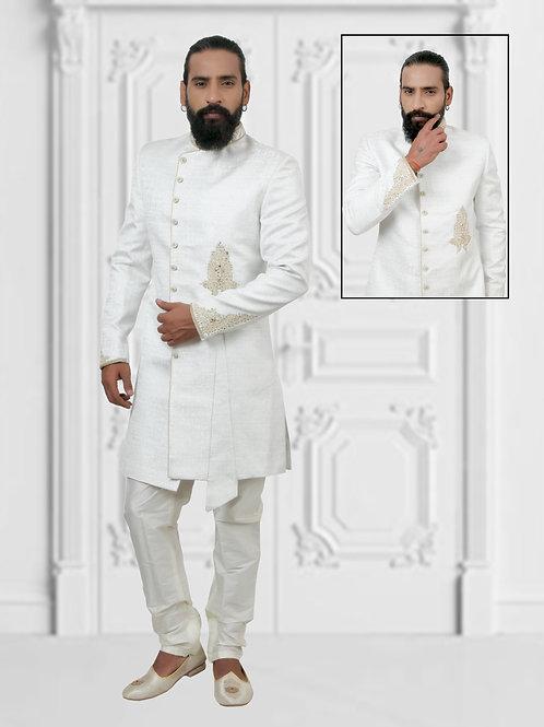 Ethnic | White Embroidered Sherwani Set | Indian | Sherwani