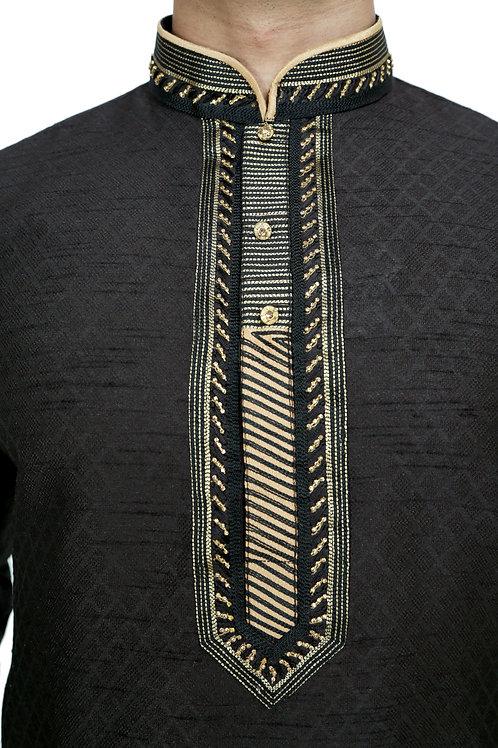 Ethnic | Embroidered Art Silk Kurta Set in Black | Indian | Kurta Paijama