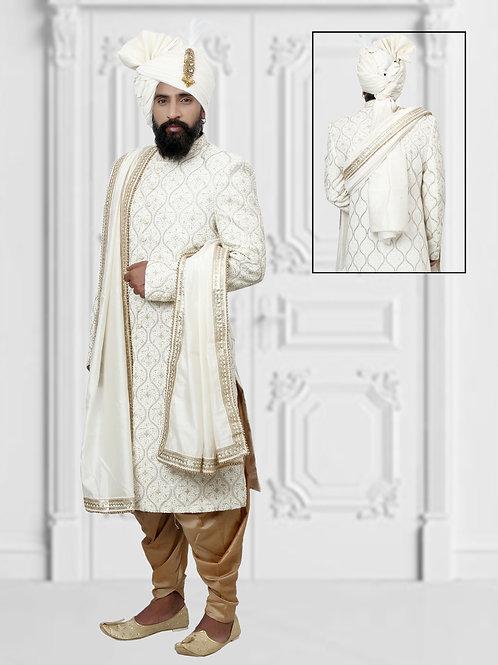 Ethnic | Off White Full Embroidery Sherwani Set | Sherwani