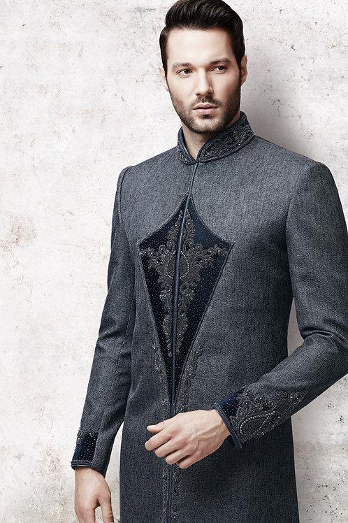 Ethnic | Woven Pure silk Jacquard  Sherwani in Black | Indian | Man