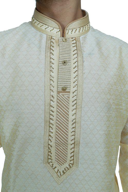 Ethnic | Embroidered Cotton Kurta Pajama in Cream/golden | Indian | Kurta Paijama