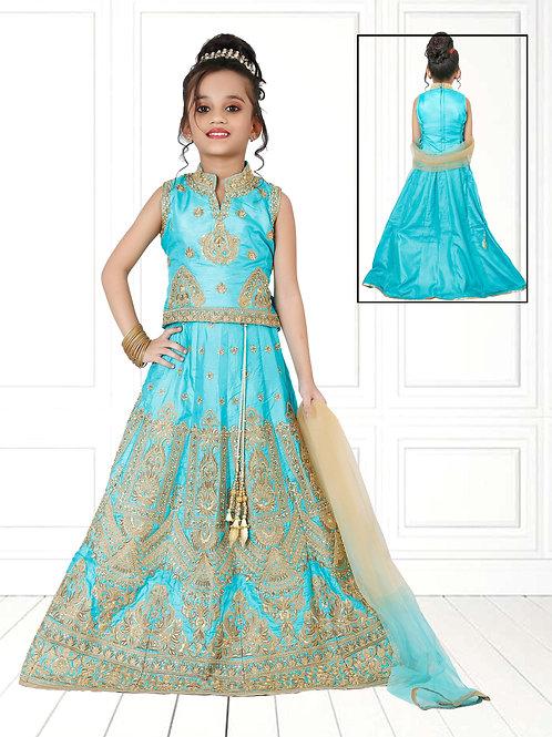 Ethnic, Kids Wear for Girls, Fine thread work embroidered lehnga set, India Wedding, Indian Kids Clothing